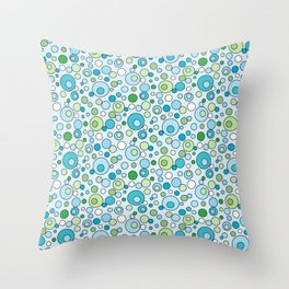 Turquoise Blue and Green Bubbles Spot Pattern Throw Pillow