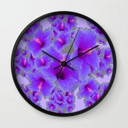 LILAC PURPLE-GREY HIBISCUS  MODERN  ART Wall Clock