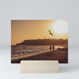 On the beach Mini Art Print