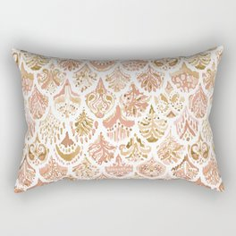 PAISLEY MERMAID Rose Gold Fish Scales Rectangular Pillow