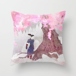 Tengami - Winter Cherry Tree (Portrait) Throw Pillow