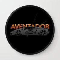 lamborghini Wall Clocks featuring Lamborghini Aventador by Vehicle