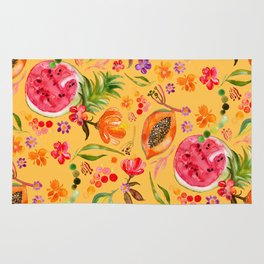 Tropical Fruit Festival in Yellow | Frutas Tropicales en Amarillo Rug