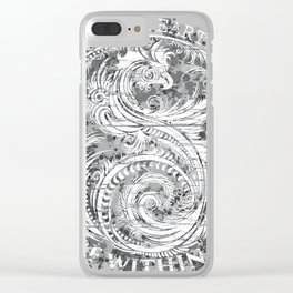 Sky Above Me Earth Below Me Fire Within Me - Grayscale Yin Yang Dragon Swirl Clear iPhone Case