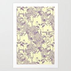 just goats purple cream Art Print