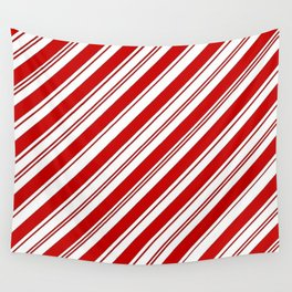 winter holiday xmas red white striped peppermint candy cane Wall Tapestry