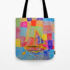 When an umbrella transforms into a boat on Christmas night Tote Bag