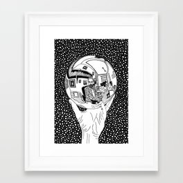 Escher - Self-portrait on a sphere Framed Art Print