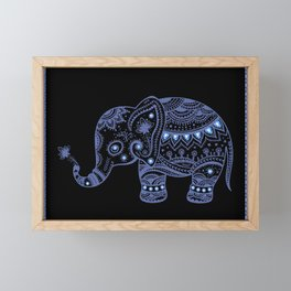 Blue Tones Faux Glitter Cute Elephant Framed Mini Art Print