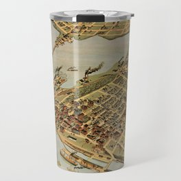 Vintage Pictorial Map of Vancouver BC (1898) Travel Mug