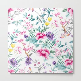 Chinoiserie Decorative Floral Motif Metal Print
