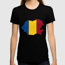 Romania Map with Romanian Flag T-shirt