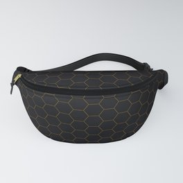 Black with fine line gold hexagon pattern Fanny Pack