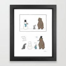 Watch your snowman  Framed Art Print
