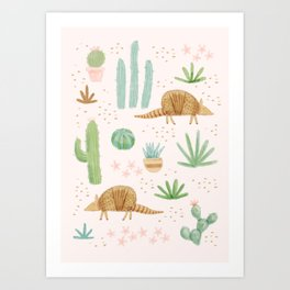 Armadillos in the Desert - Watercolor Art Print
