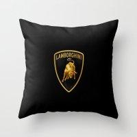 lamborghini Throw Pillows featuring Lamborghini black by JT Digital Art