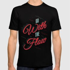GO WITH THE FLOW Black MEDIUM Mens Fitted Tee