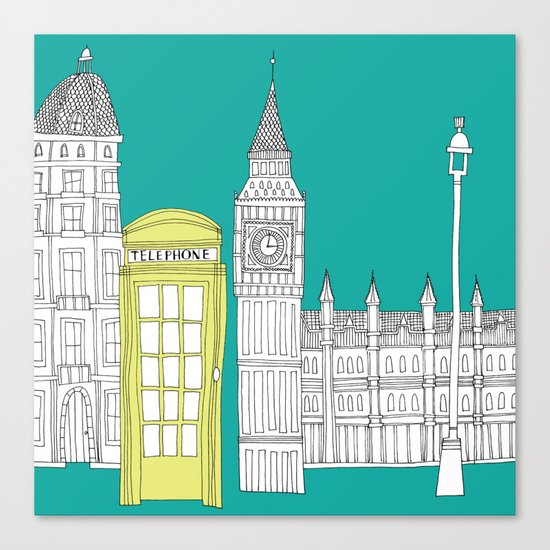 London - City prints // Red Telephone Box Canvas Print