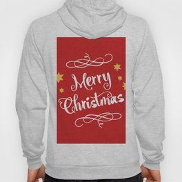Merry Christmas - Typography, Calligraphy, Red, White, Stars Hoody