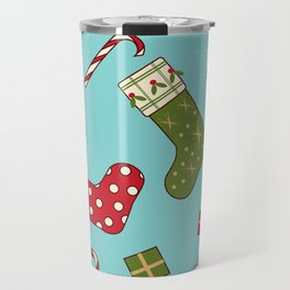 Christmas socks present sweet seamless background Travel Mug