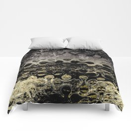 Distressed Silver Gold Multi Pattern Abstract Comforters