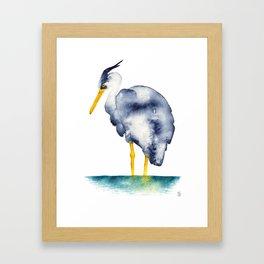 Heron Watercolor Framed Art Print