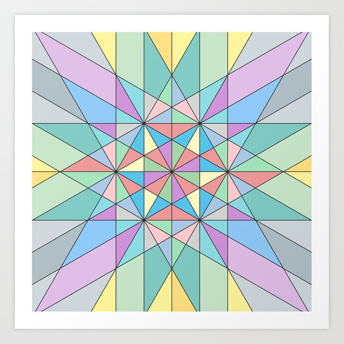 Colorful Pastel Mosaic Triangle Star Art Print