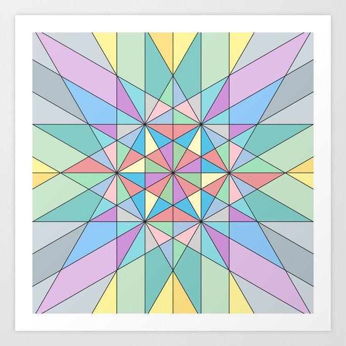 Colorful Pastel Mosaic Triangle Star Art Print