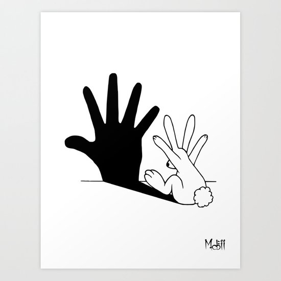 Rabbit Hand Shadow Art Print