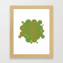 op art pattern retro circles in green and orange Framed Art Print