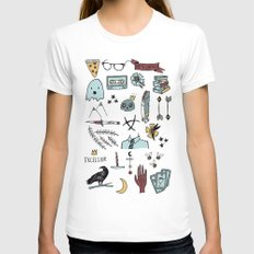 color raven doodles Womens Fitted Tee White MEDIUM