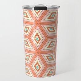 Living Coral Tilted Cubes Pattern Travel Mug