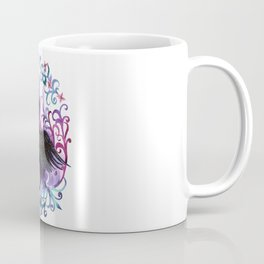 Watercolor hand painted silhouette of a black stork in a flower frame in violet colors Coffee Mug