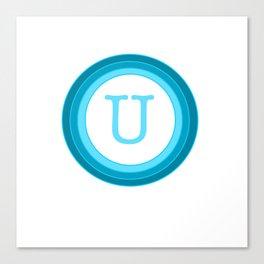 Blue letter U Canvas Print