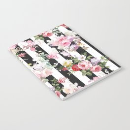 Bold pink watercolor roses floral black white stripes Notebook
