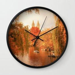 Central Park New York City Autumn Wall Clock