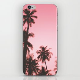 Tropical palm trees on beige pink iPhone Skin