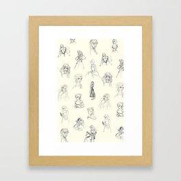 Sketched Girls Framed Art Print