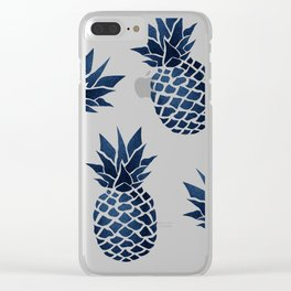 Pineapple Blue Denim Clear iPhone Case