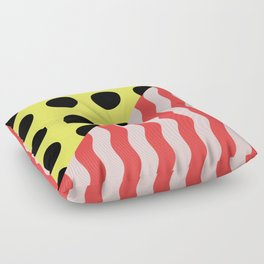 Polka Waves - black and yellow polka dots and red and pink waves Floor Pillow