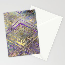 Tribal  Ethnic Boho Pattern gold and gentle purples Stationery Cards