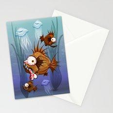 Psycho Fish Piranha with Bone Stationery Cards