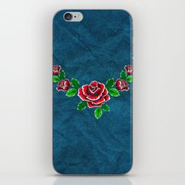 Red embroidered rose iPhone Skin