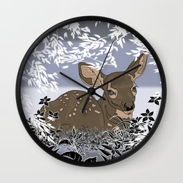 Baby Deer in a winter paradise Wall Clock