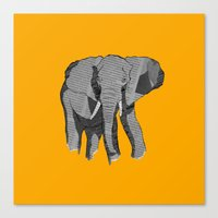 newspaper Canvas Prints featuring Newspaper Elephant by Doolin