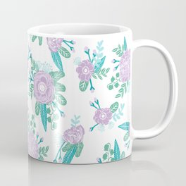 Floral bouquet pastel mint lilac florals painted painted pattern basic minimal pattern print Coffee Mug