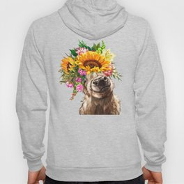 Sunfowers crown Highland Cow in Pink Hoody