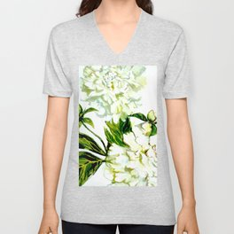 White Peonies in watercolor Unisex V-Neck