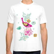 Birds and Blooms 1 White Mens Fitted Tee SMALL