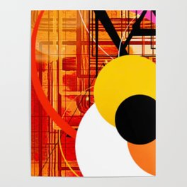 Yellow Black and Orange Sticker Abstract Poster